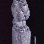 「黙」 木彫100X23X22 1995年